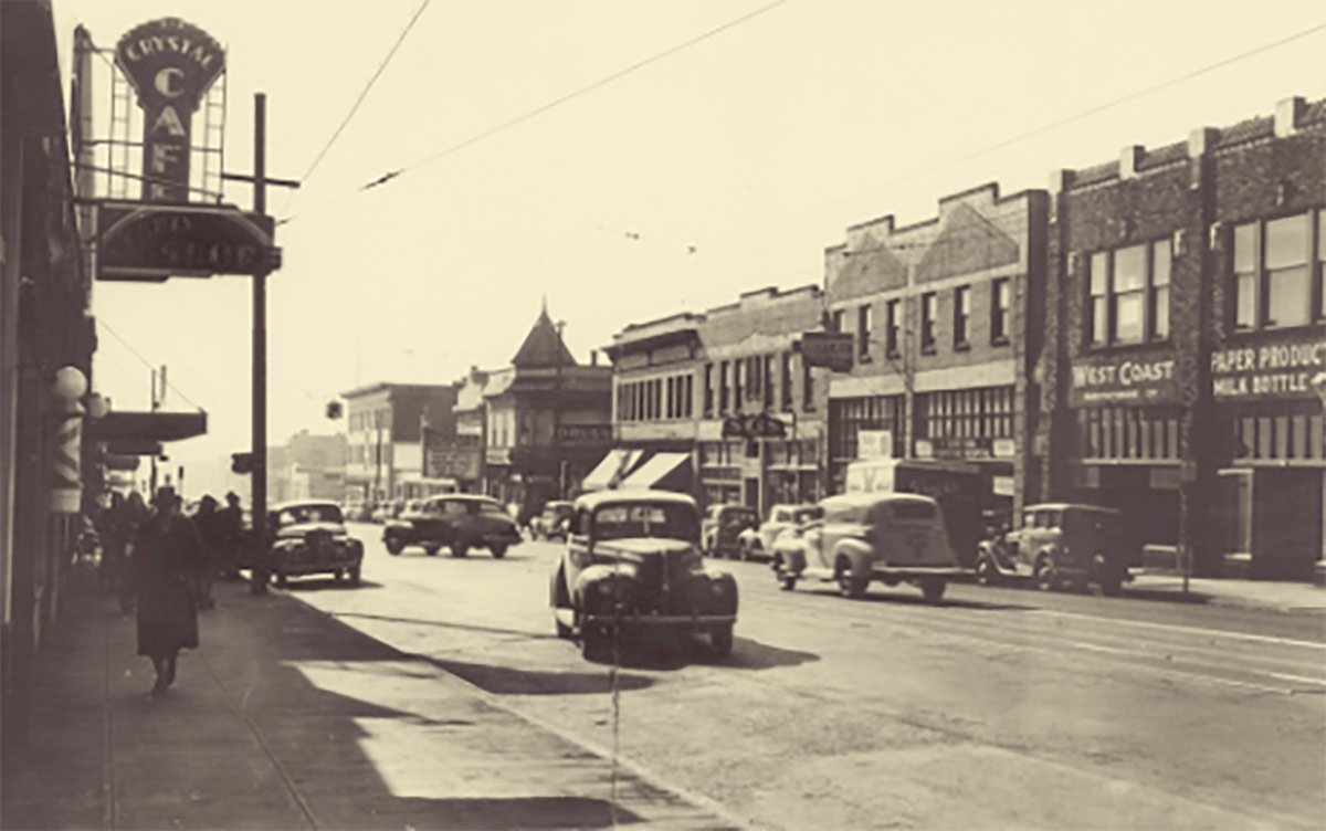 Photo of Portland's Albina neighborhood in 1950s