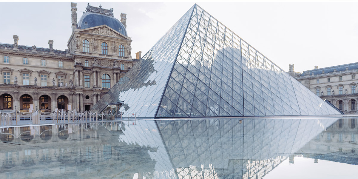 Photo of the exterior of the Louvre Museum