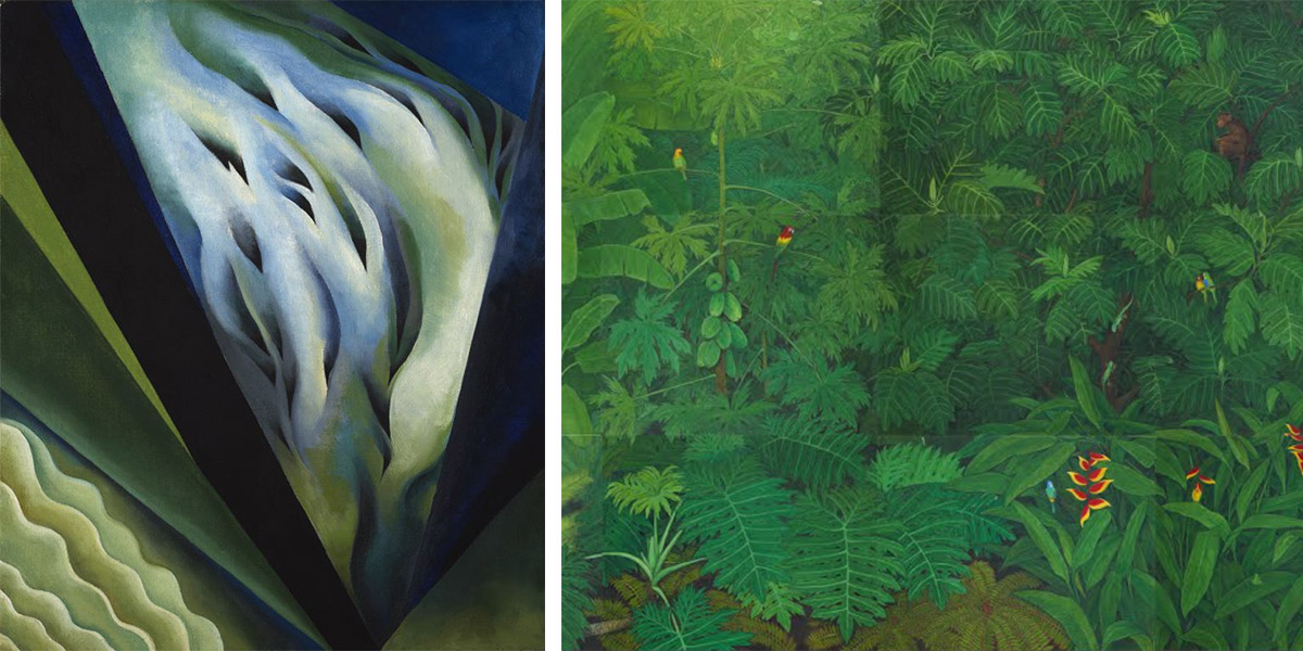 A blue and green canvas by Okeeffe and a painting of a garden