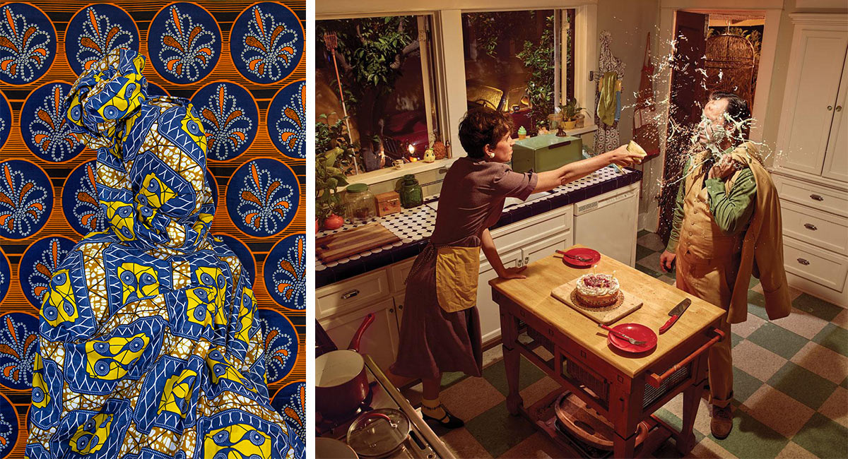 A photograph of a person in textiles and a photograph of a couple fighting in a kitchen