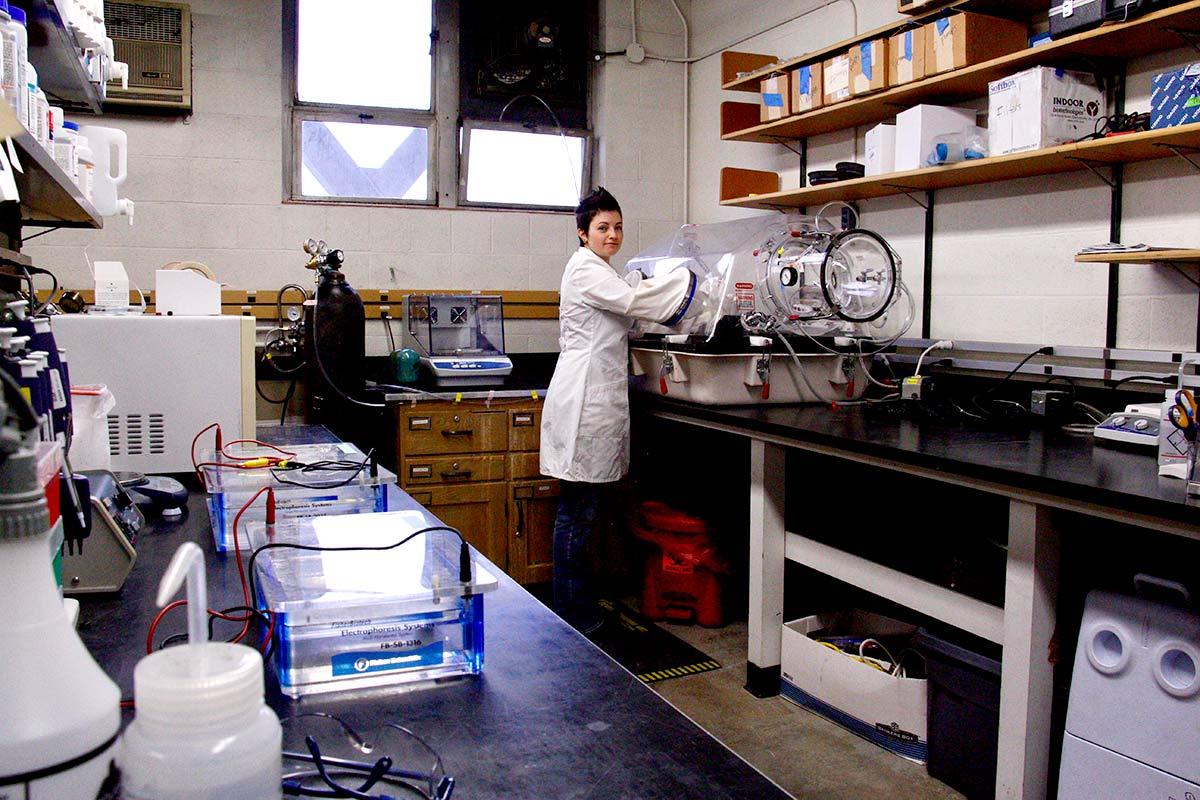 Sue Ishaq in the lab