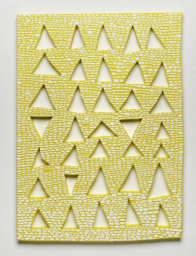 Bricks on Yellow, artwork by Amanda Wojick. Wood, paper, paint, 22x30x1.