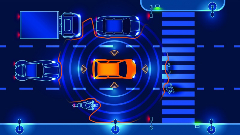 illustration showing car sensors