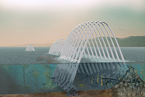 wave-, wind-, and solar-powered generators within graceful arches
