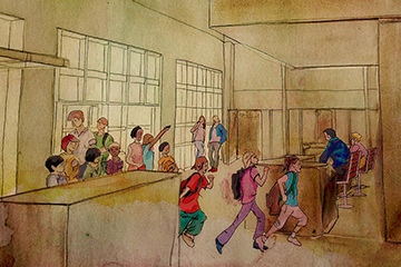Sarah Homister's watercolor rendering of an adaptive re-use of the early 20th century Army barracks