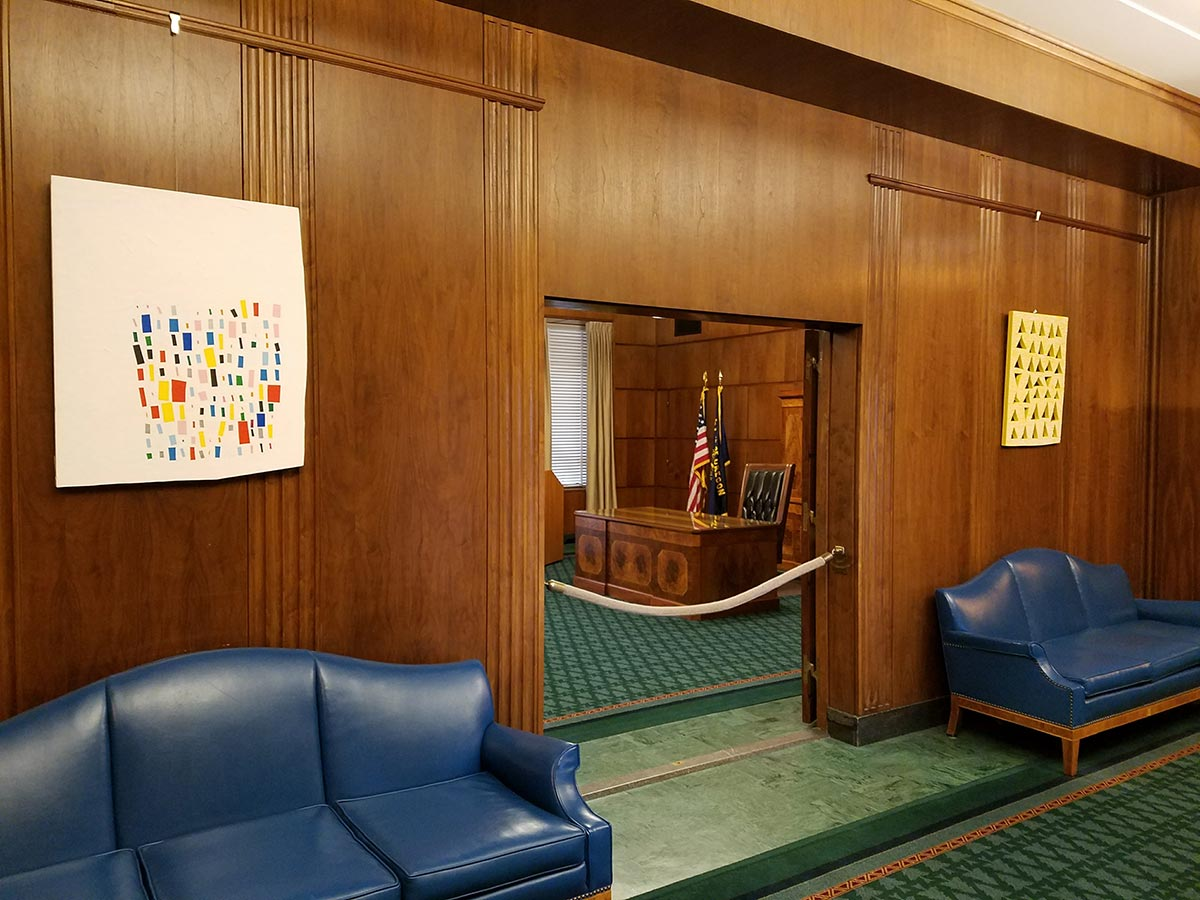 Artwork by Amanda Wojick hangs in the Oregon Governor's Office.