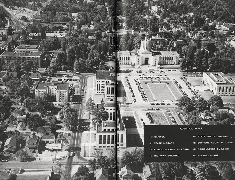 aerial view of state capitol