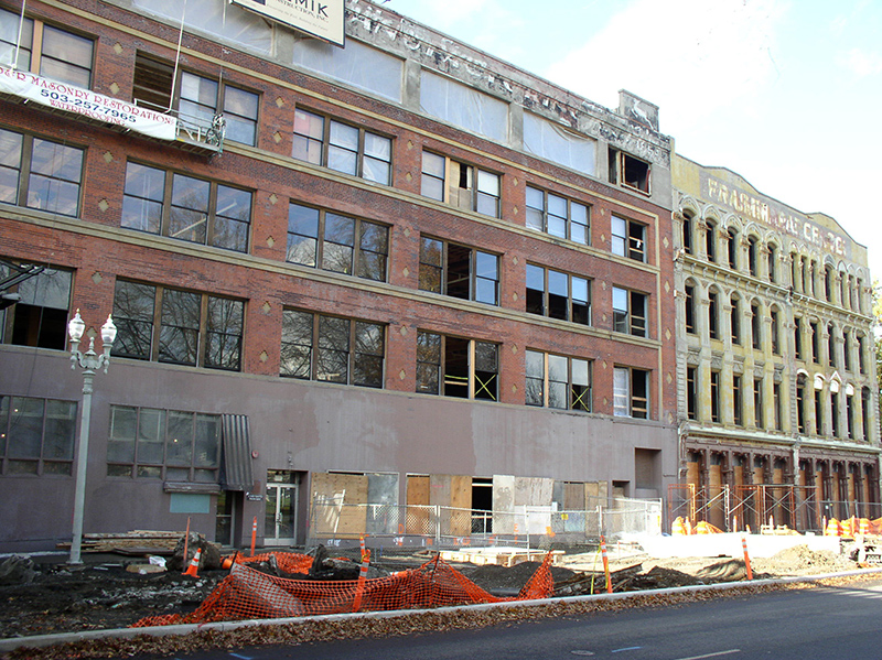 The White Stag (Hirsch-Weiss) Building, at left, and the Bickel Building, at right, during renovation