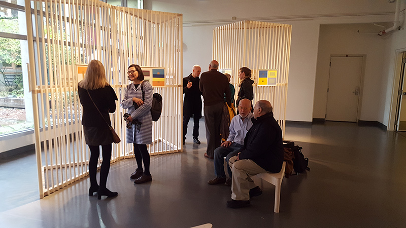 people talk at the Albers exhibit