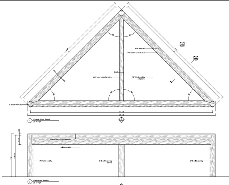 Construction document showing the triangle components used to build the panels and benches