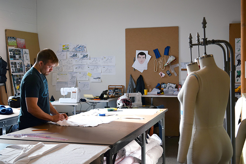 Garrett Tollette works on a design at UO in Portland