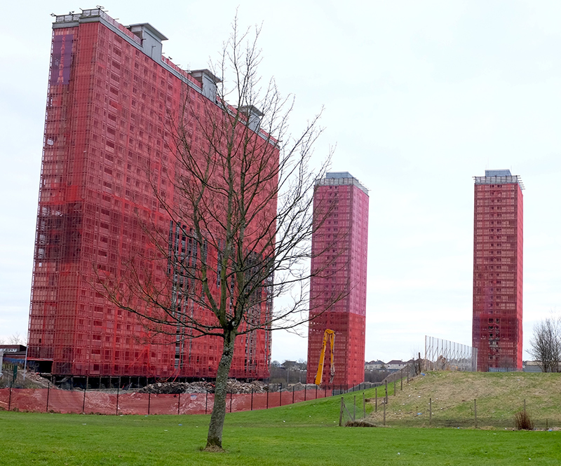 Glasgow's Red Road ghost towers, prepped for demolition.