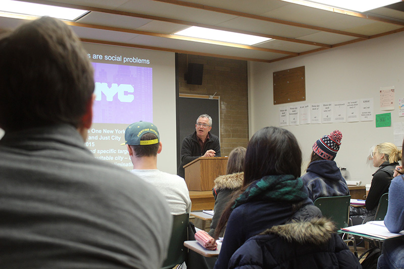 A&AA Interim Dean Brook Muller speaks during the Inclusive Urbanism class the first week of winter term.
