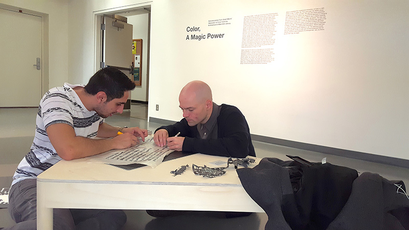 Landry Smith and José Guillermo Perez finalize text for the exhibition