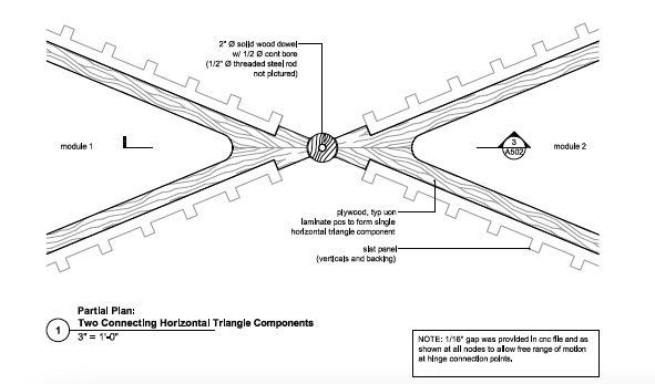 triangle components from the construction document for the triangle benches