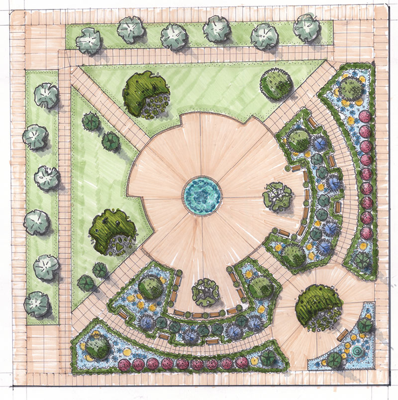 A formal garden design by Russell Martinelli.