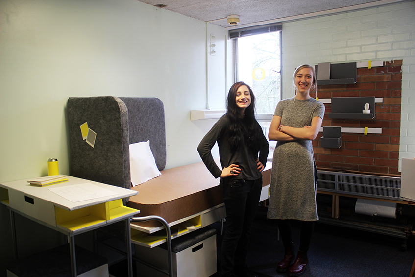 Sara Murillo (left) and Cara Murray in their Bean Hall dorm room