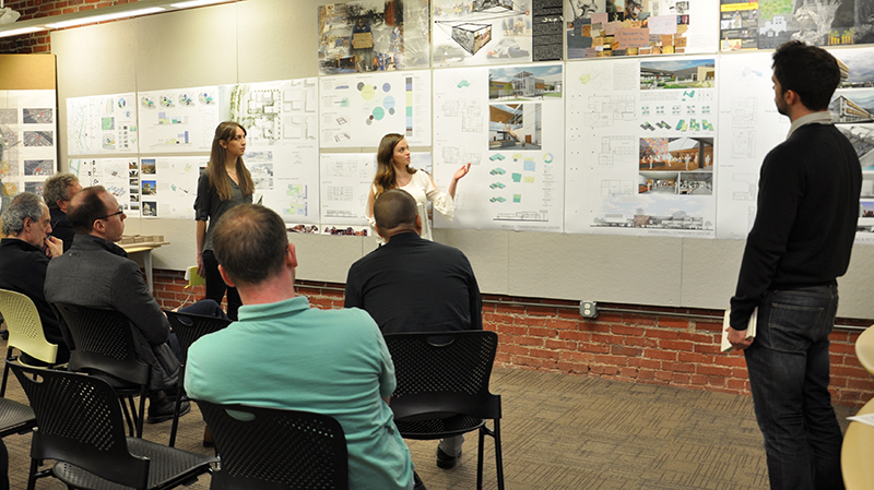 Students present their work during review week. Photo by Brooke Freed.