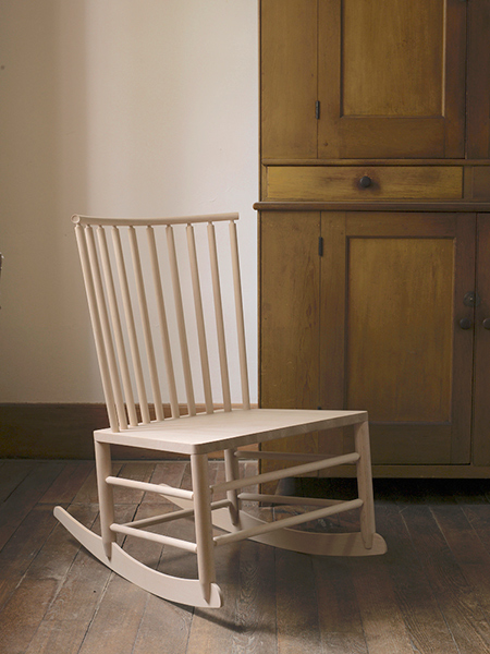 rocking chair with a wide, with a low profile