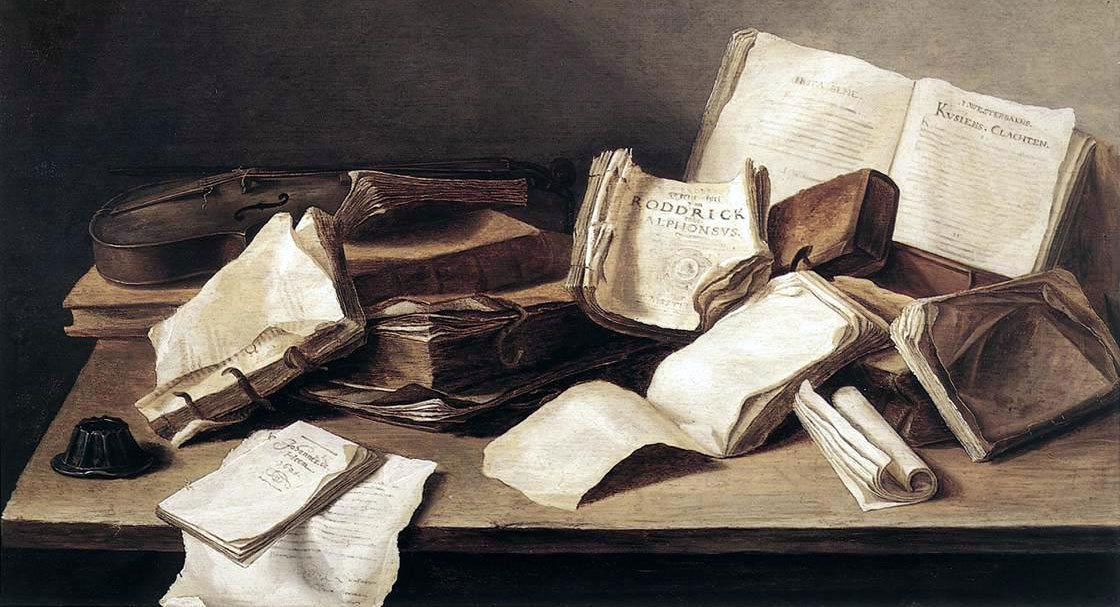 Painting of books on table