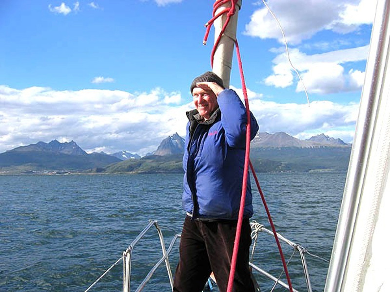 Jay Lindsay sails in the Beagle Channel along the southernmost tip of Argentina.