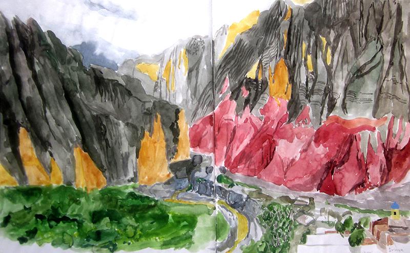 Watercolor from Lindsay's sketchbook of Iruya, Argentina.