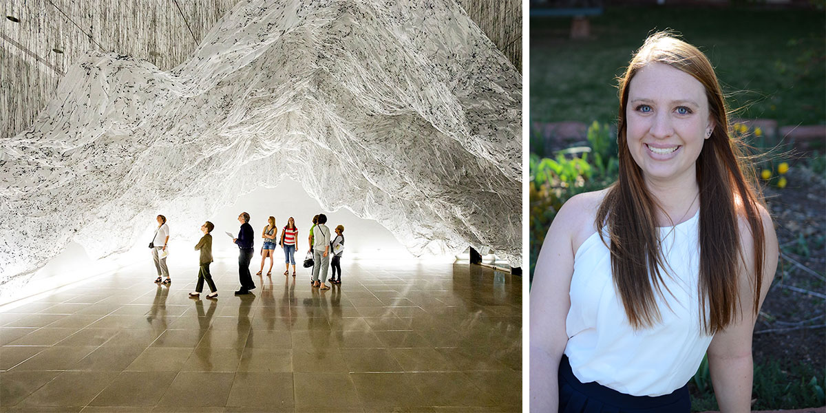Photo of an art installation and a photo portrait of Emily Lawhead