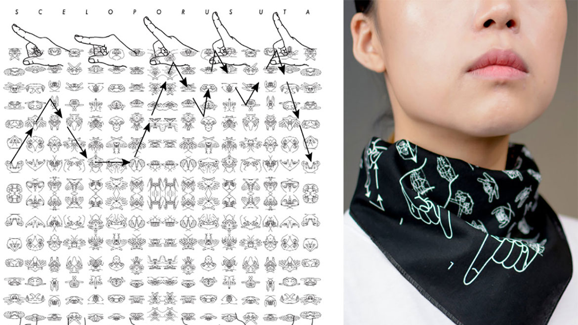 Art Professor Carla Bengtson's 'Learning Lizard' hiker's bandana