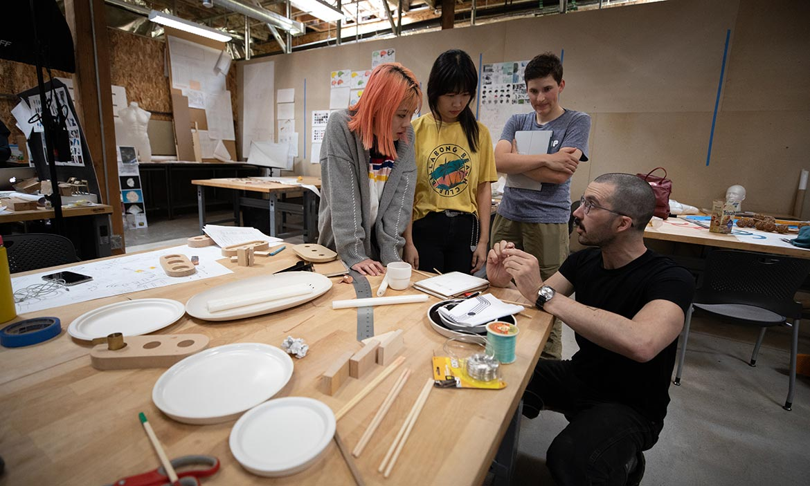 Product Design students work with Tom Bonamici