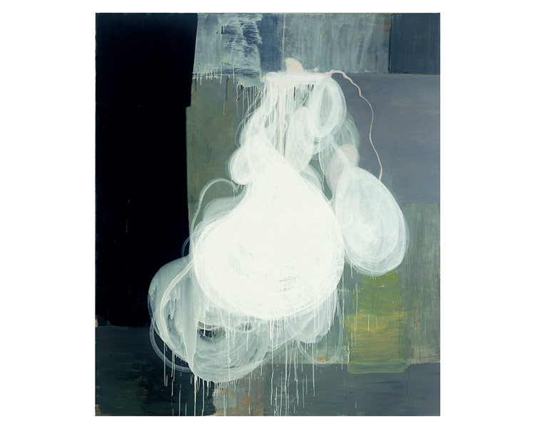 "Spilt Milk, 2004, oil on canvas, 85"" x 73"", by Jan Reaves."