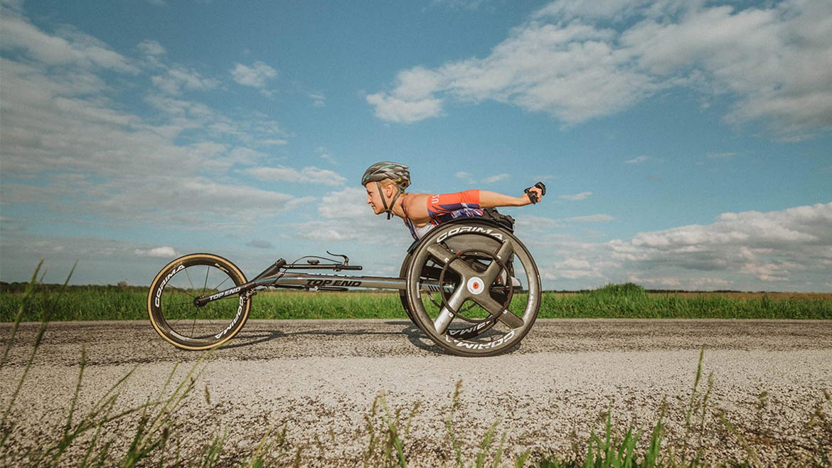 An athlete with Velox gear designed by Sarah Klecker