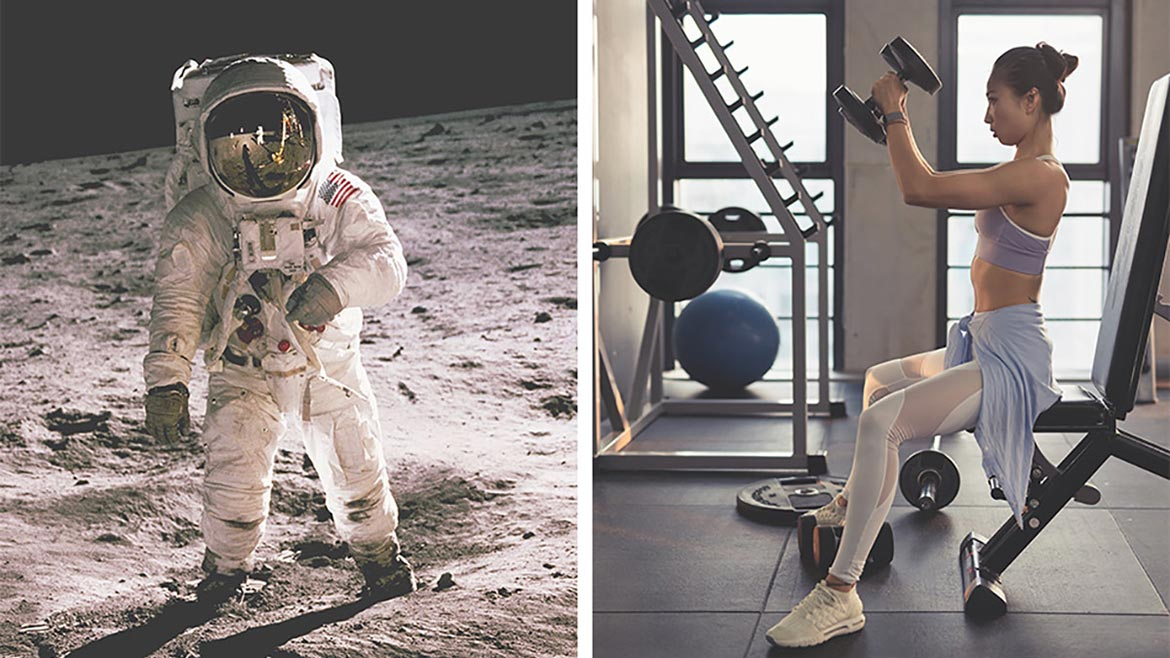 space suits and person working out