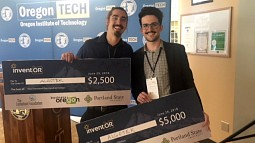 Justin Lebuhn with David Crinnion at the InventOR competition