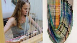 a photo of a woman weaving and a fiber artwork