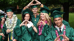 students at commencement