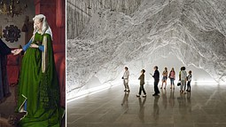 A painting and a photograph of an art installation