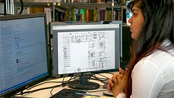 Woman working at computer