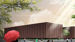 architectural rendering of the exterior of a library