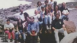 group of people on rocks