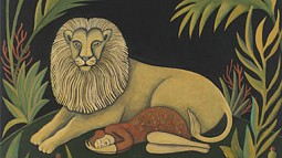 Sharon Bronzan painting of a woman sleeping next to a lion
