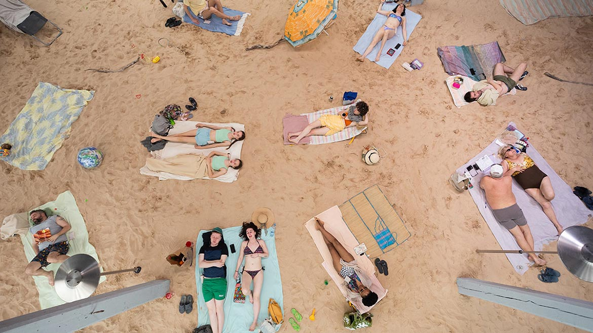 people sunbathing indoors, 'Sun and Sea (Marina)' at the 2019 Venice Art Biennale