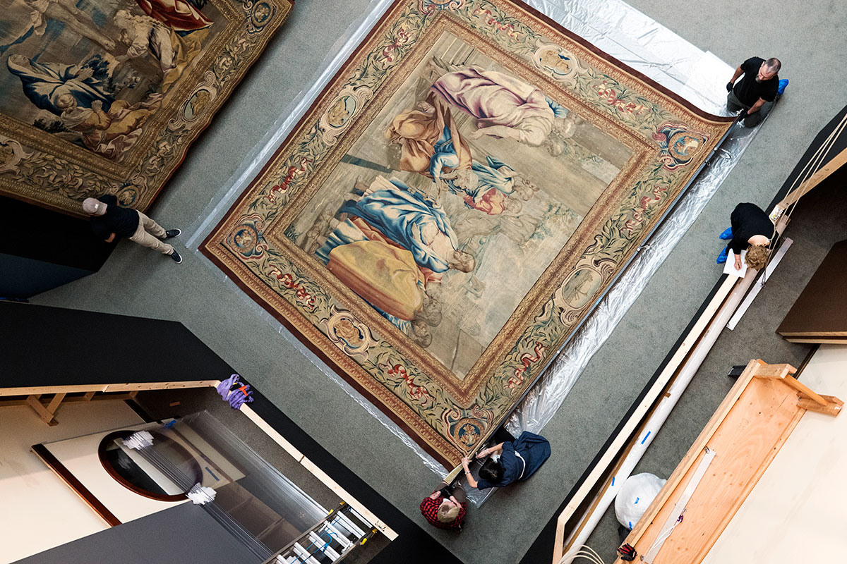 view of tapestry from above