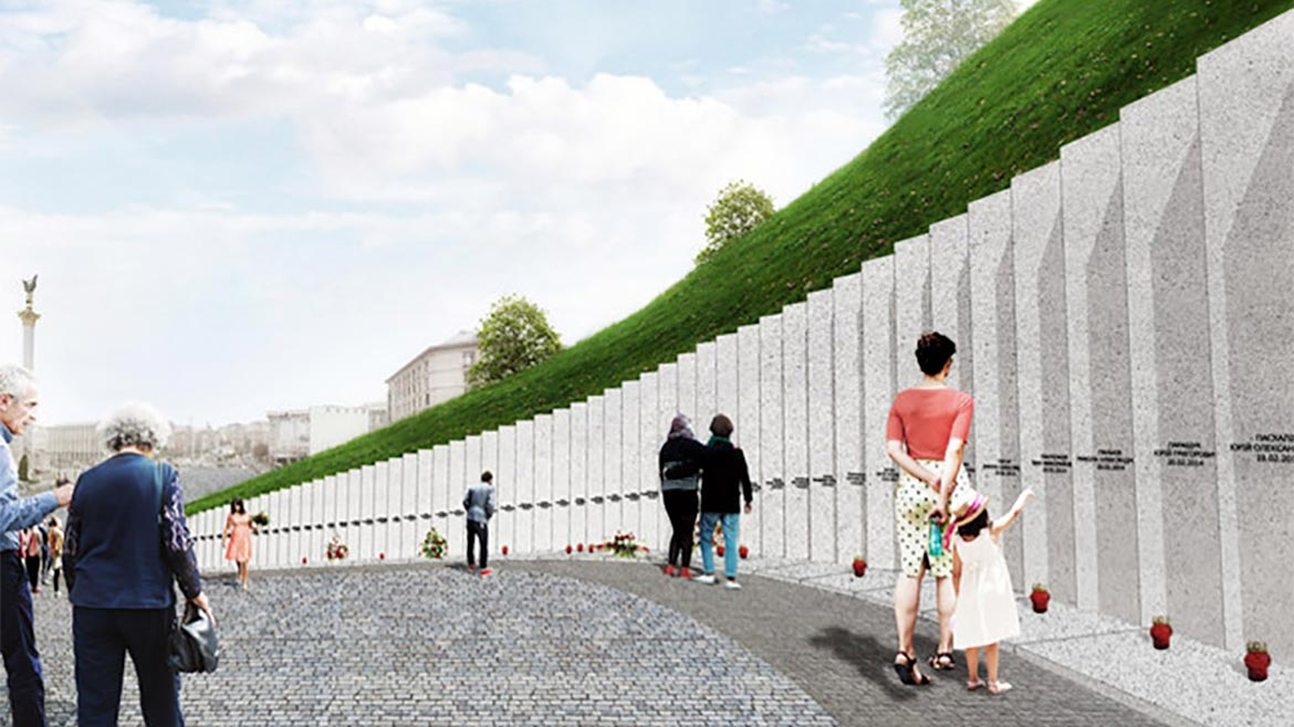 MIstudio rendering of the National Memorial to the Heavenly Hundred Heroes in Kiev, Ukraine